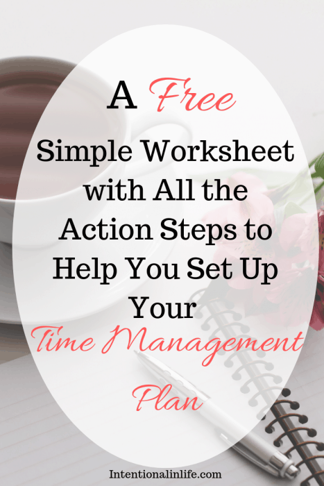 A FREE simple worksheet with all the action steps to help you set up up your time management plan.