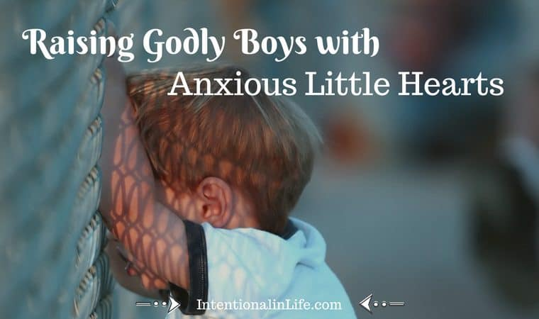 "It's amazing how seemingly ""little"" challenges can become super-sized anxieties in our little boys' hearts. As they grow into the teen years, hormones only add to the craziness: Dealing with these anxious little hearts of our boys is not for the faint of heart!"