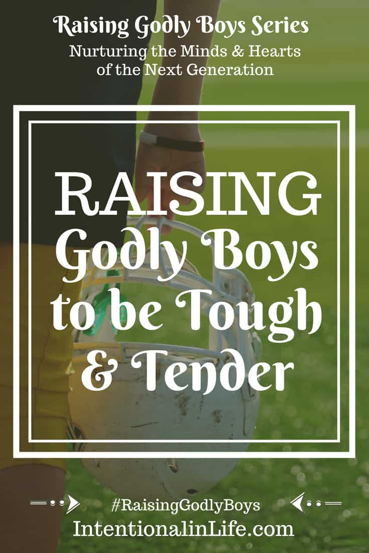 I don't care one bit if my boy is considered a manly man or tough guy, nor do I care if he is viewed as weak. What I do care about is if he is growing into the man that God has created him to be - and that includes being both tough and tender.